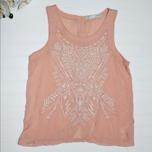 Mauricies embroidered peach tank